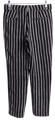 A.L.C. Black White Striped Silk Dress Pants