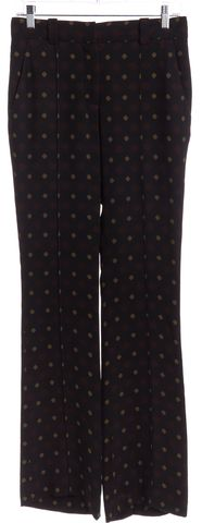 A.L.C. Black Red Yellow Print Silk Trouser Pants