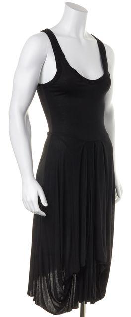 A.L.C. Black Sheath Casual Knit Tank Pleat Zip Back Dress