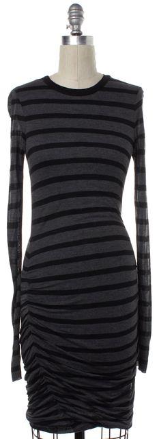 A.L.C. Black Gray Striped Long Sleeve Stretch Dress