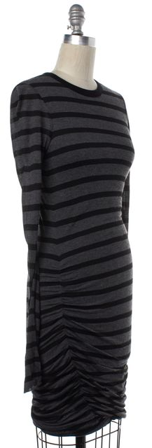A.L.C. Black Gray Striped Long Sleeve Stretch Dress