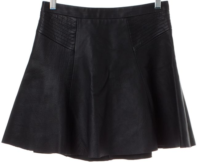 A.L.C. Black Leather A-Line Skirt