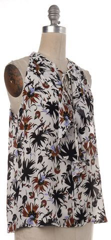 A.L.C. White Black Floral Silk Tank Top