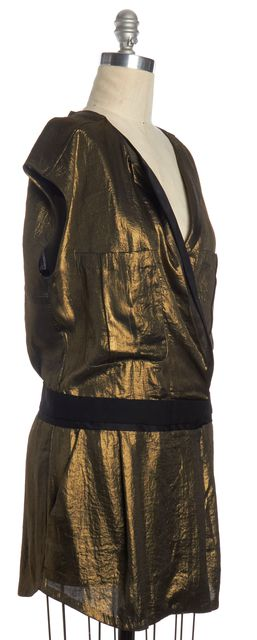 A.L.C. Gold Lame Wrap Effect Sheath Dress