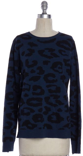 A.L.C. Blue Black Leopard Print Wool Knit Top