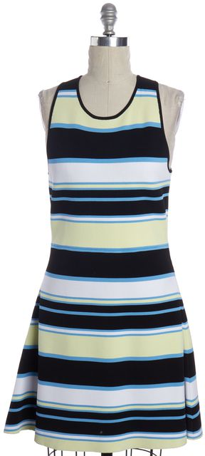 A.L.C. Black White Green Striped Fit Flare Dress