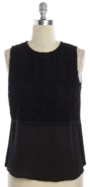 A.L.C. Black Cotton Crochet Floral Lace Over Silk Sleeveless Blouse Top