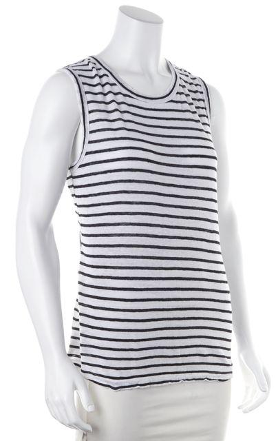 A.L.C. White Black Striped Linen Crewneck Draped Back Tank Top