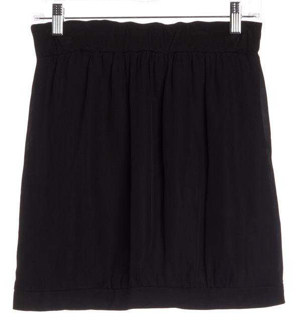 A.L.C. Black Silk Drape Front Straight Skirt