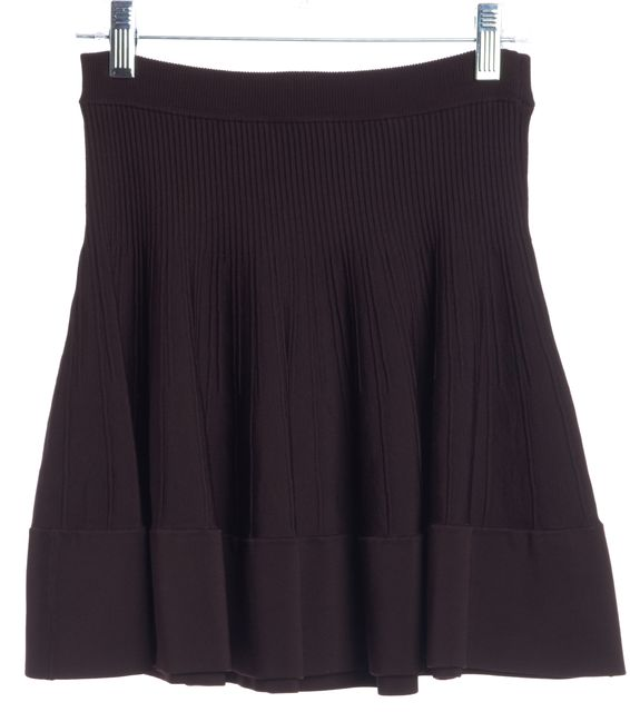 A.L.C. Plum Purple Ribbed Knit Flared A-Line Skirt