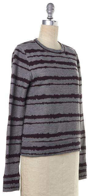 A.L.C. Gray Burgundy Striped Crewneck Sweater