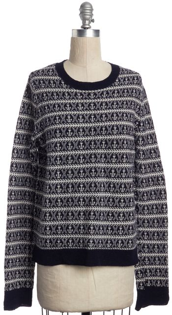 A.L.C. Navy Blue White Pattern Knit Wool Sweater Top