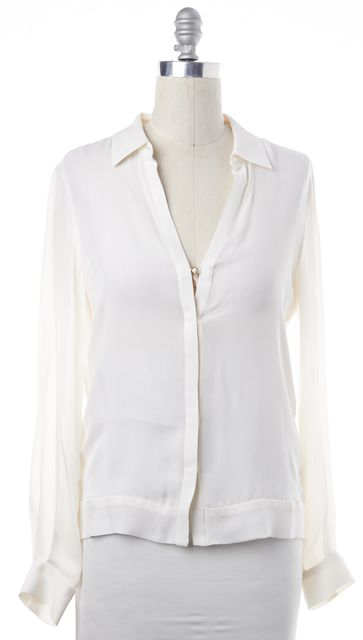 A.L.C. Ivory Casual Silk Button Down V-Neck Blouse Top