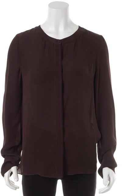 A.L.C. Brown Silk Drape Back Button Down Shirt Blouse