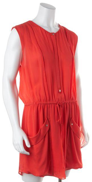 A.L.C. Coral Pink Silk Drawstring Shift Dress