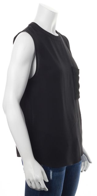 A.L.C. Black Silk Velvet Pocket Sleeveless Top