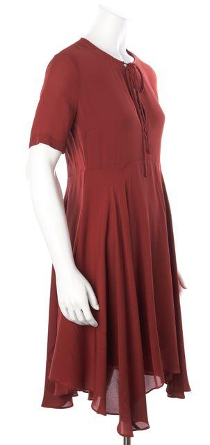 A.L.C. Burnt Red Silk Keyhole Ruffled Hem Fit & Flare Mini Dress