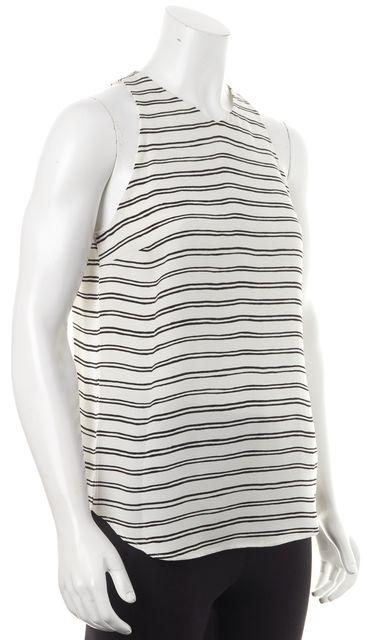 A.L.C. Ivory Black Striped Silk Tank Top Blouse Top