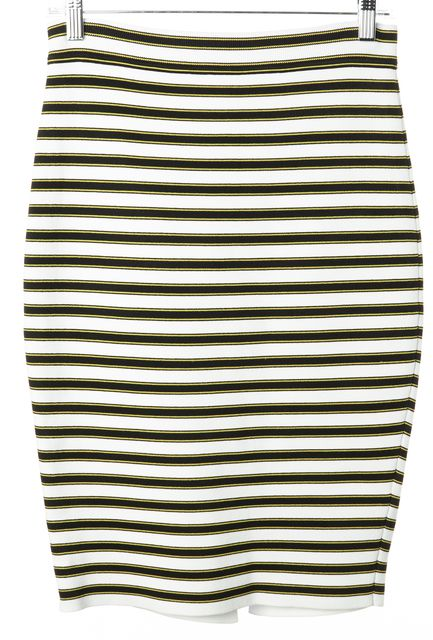 A.L.C. White Black Yellow Striped Stretch Knit Knee-Length Skirt