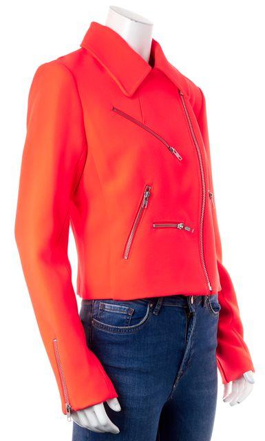A.L.C. Neon Orange Ekberg Zip Front Motorcycle Jacket