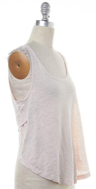 A.L.C. Blush Pink Casual Linen High-Low Cross Back Knit Relaxed Tank Top