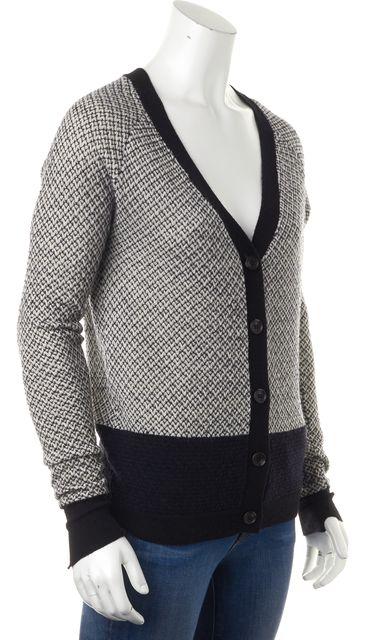 A.L.C. White Navy Chevron Knit Wool V-Neck Cardigan Sweater