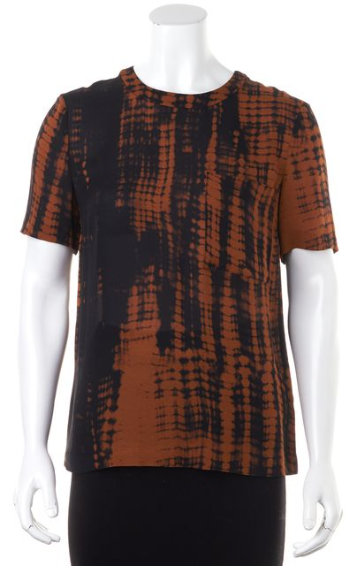 A.L.C. Brown Black Abstract Silk Blouse Top