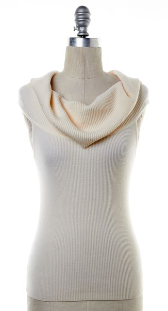 A.L.C. Ivory Wool Ribbed Sleeveless Cowl Neck Knit Top