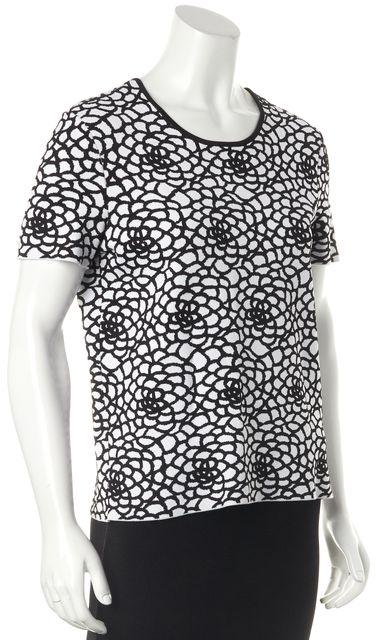 A.L.C. White Black Floral Knit Top