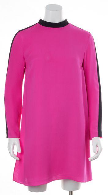A.L.C. Neon Pink Black Trim Side Slit 100% Silk Fit & Flare Dress