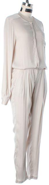A.L.C. Beige Button Front Long Sleeve Jumpsuit