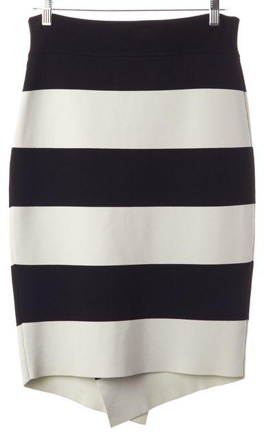A.L.C. Black Mint Green Striped Above Knee Wrap Effect Pencil Skirt