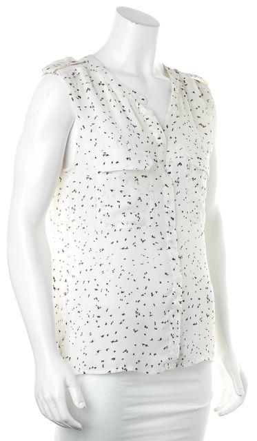 A.L.C. Ivory Black Dot Print Silk Button Down Blouse