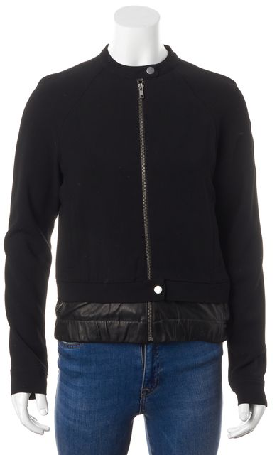 A.L.C. Black Leather Layered Trim Zip Up Pocket Front Jacket