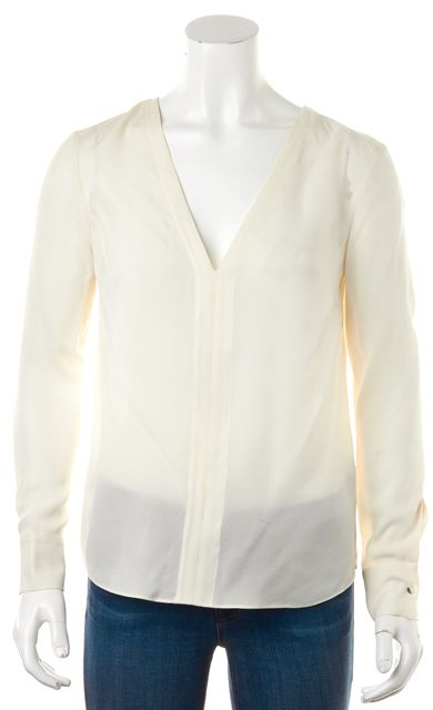 A.L.C. Ivory Silk Cutout Back V-Neck Semi Sheer Summer Blouse
