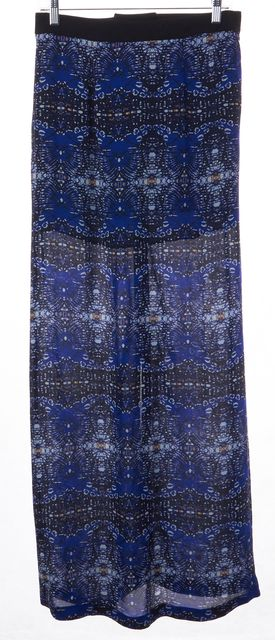 A.L.C. Blue Black Abstract Print Silk High Front Slit Maxi Skirt