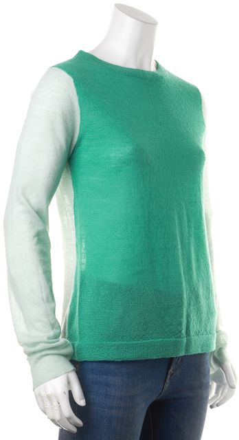 A.L.C. Green Colorblock Sheer Wool Knit Long Sleeve Crewneck Sweater