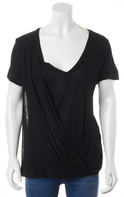 A.L.C. Black Linen V-Neck Draped Short Sleeve Basic T-Shirt