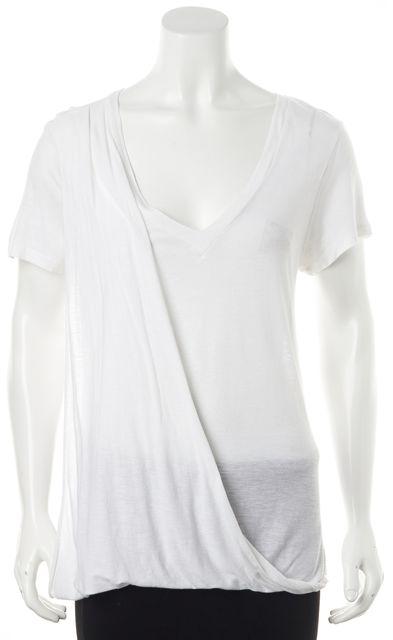 A.L.C. White Linen V-Neck Draped Short Sleeve Basic T-Shirt