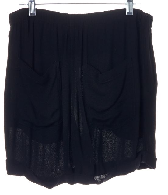 A.L.C. Black Cuffed Hem Elastic Waist Summer Casual Shorts
