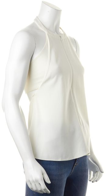 A.L.C. Ivory Zip Front Halter Blouse Top
