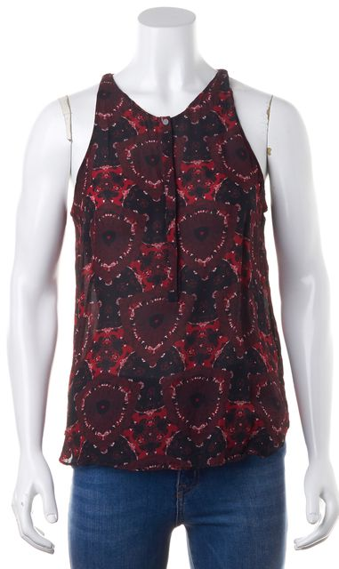 A.L.C. Red Black Abstract Silk Snap Front Sleeveless Summer Blouse