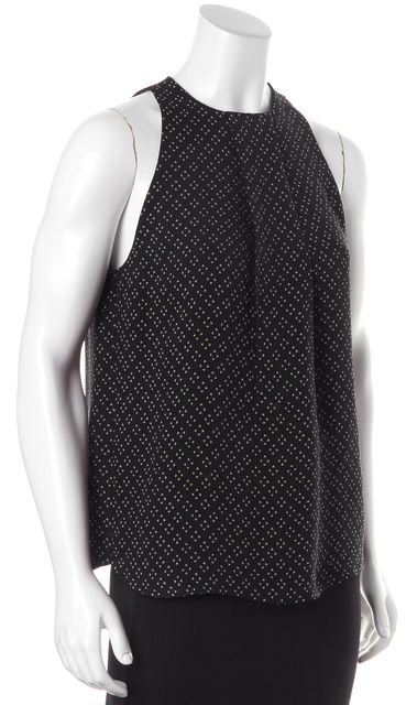 A.L.C. Black Beige Casual Relaxed Fit Cut-Out Back Sleeveless Silk Blouse