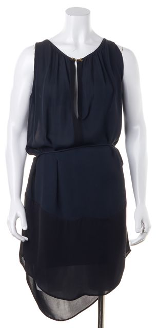 A.L.C. Navy Blue Black Colorblock Silk Semi Sheer Blouson Dress