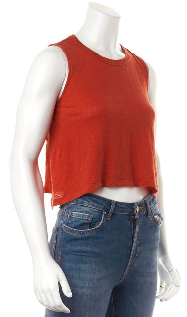A.L.C. Brick Red Linen Sleeveless Cropped Relaxed Tee Top