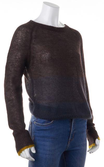A.L.C. Brown Colorblock Sheer Crewneck Sweater