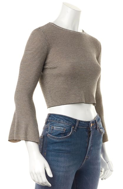 A.L.C. Beige Black Striped Merino Wool Bell Sleeves Cropped Ribbed Knit Top