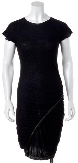 A.L.C. Casual Black Linen Stretch Zipper Dress