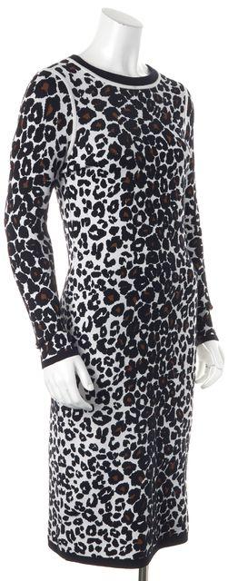 A.L.C. Black Brown White Abstract Print Wool Knit Sheath Sweater Dress