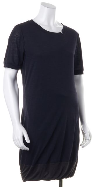 A.L.C. Navy Blue Gray Colorblock Wool Short Sleeve Bubble Hem Shift Dress